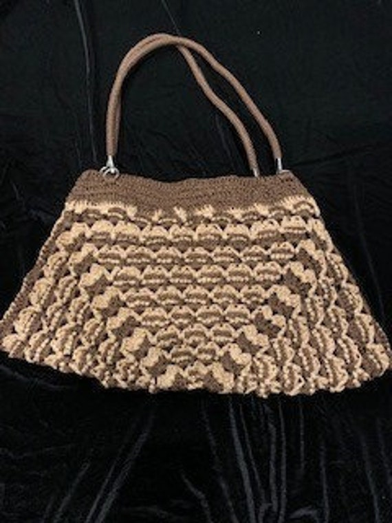 Vintage Macrame Shoulder Bag / Boho Macrame Purse