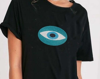 af27f14a2c784b Loose fit black t shirt evil eye protection Women s tees Boho Hippie Soft  fabric