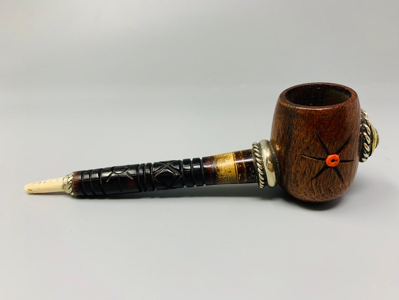 Hand carved Wood Pipe with Fish Bone Mouth piece metal accents and turquoise