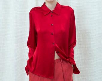8f9ed1d3f36e67 80s red silk blouse medium | bright red liquid silk blouse | cherry red  silk button down shirt | minimalist silk blouse | minimal silk shirt