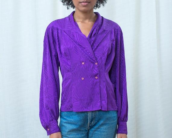 80s purple silky blouse medium | shawl collar bri… - image 2
