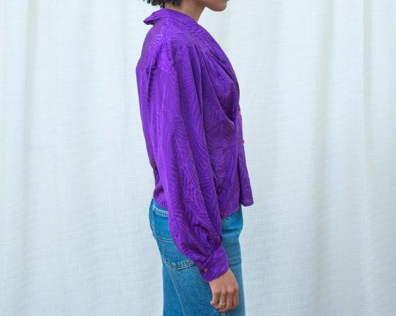 80s purple silky blouse medium | shawl collar bri… - image 6