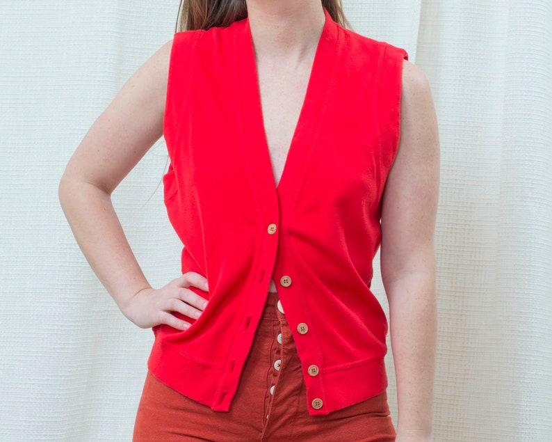 80s red cotton button down vest small v neck minimalist vest minimal button up vest