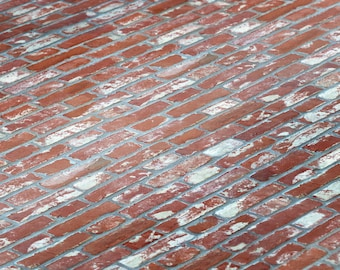 """Dollhouse Distressed Red Brick 1/12 Wallpaper Miniature 1:12 Printable Download 8.5 x 11"""" and 11 x 17"""" Digital Sheets"""