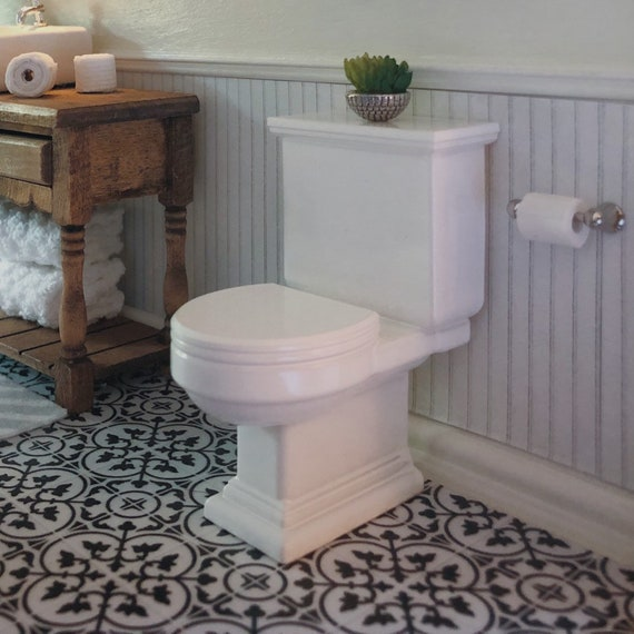 4 Pcs Ceramic Bathroom Set Dollhouse Miniature NEW//Scale:1:12//White Gloss