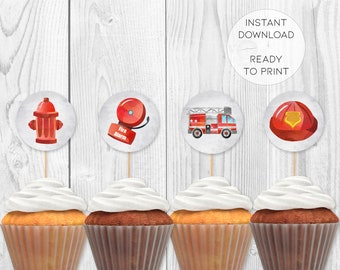 Firefighter Birthday Party Cupcake Toppers Instant Download Printable