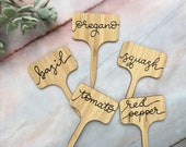 Hand Lettered Plant Markers Set Custom Herb Signs and Plant Labels in New quot Sweetie quot Style Vegetable Markers and Cheese Labels