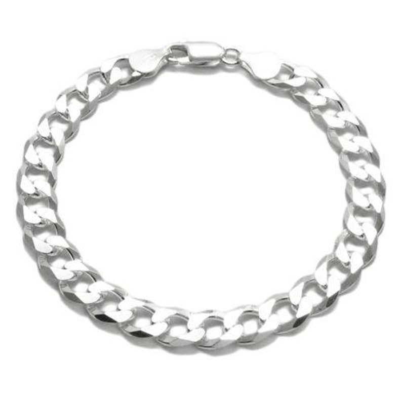 Elegant Sterling Silver FLAT Cuban Link Chain Bracelet in 8mm Gauge 200 width Available in 8 and 9 Lengths Handcrafted 925 Link