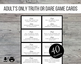 Adults Only Truth or Dare Printable Party Game, 40 Cards