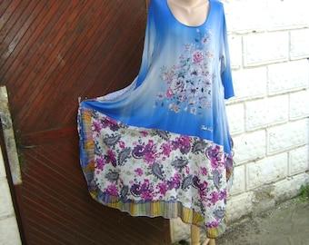 Upcycled dress, Patchwork dress, Bohemian, Summer dress