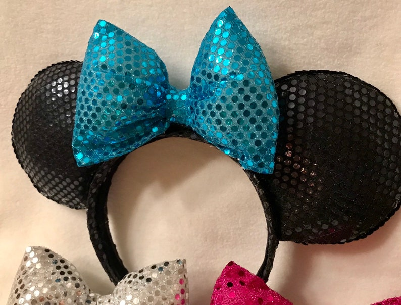Black Sequin Minnie Ears with Interchangeable Bows teal, silver, purple and pink