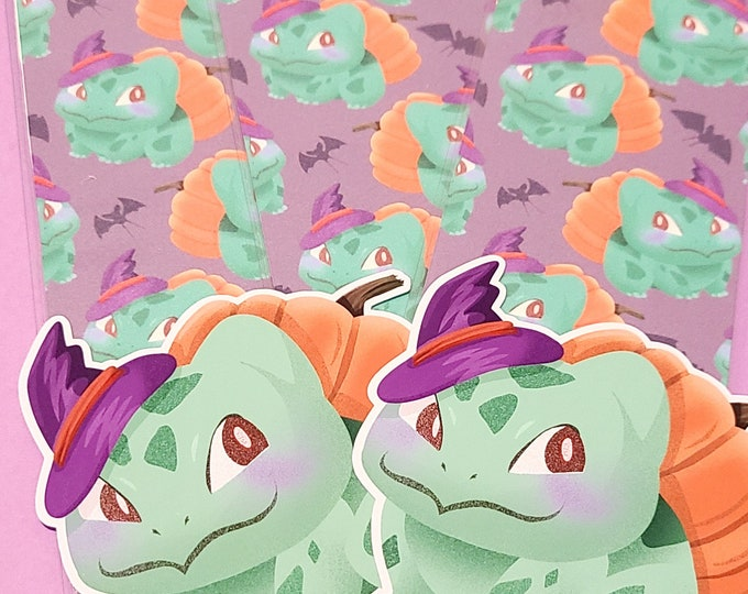 Witchy Bulbasaur sticker and bookmark set
