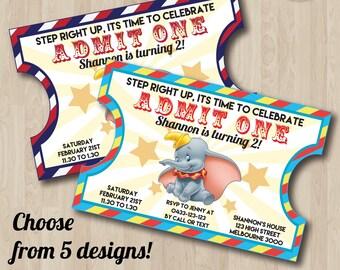 Dumbo Invitation, Dumbo Birthday Party Invite, Dumbo Baby Shower Invitation, Dumbo Cartoon Invite, Dumbo Circus Invitation, Circus Ticket