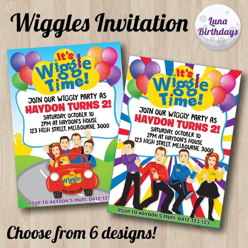 Wiggles Birthday Party Invitation Wiggles Printable Etsy