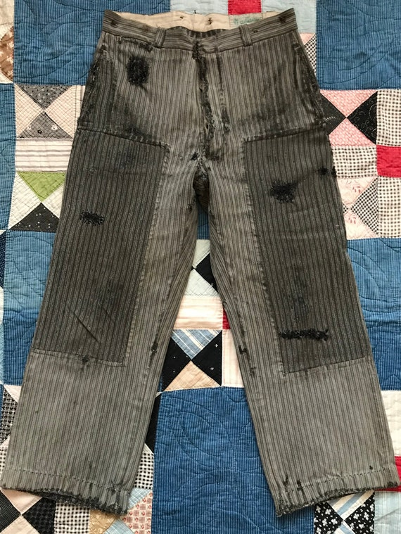 Vintage antique 1930s French work wear chore pants