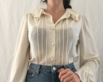 9c188983014ed Vintage Women s 70s Sheer Off-White Cream Ruffle Peasant Long-Sleeve  Button-Down Victorian Style Poet Blouse Size S M