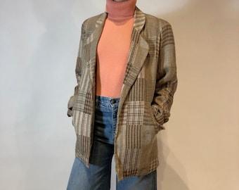 55a2bc89d173 Vintage Tweed Patchwork Lightweight Blazer Jacket