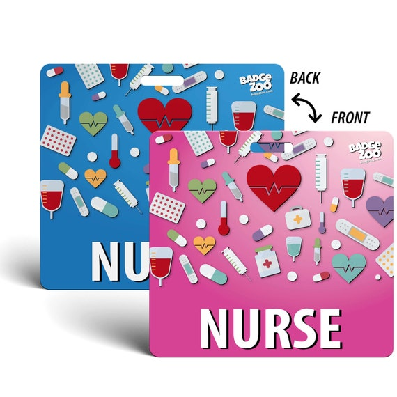 Vertical Badge Id Card for Registered Nurses Green with Medical Icons by BadgeZoo RN Badge Buddy