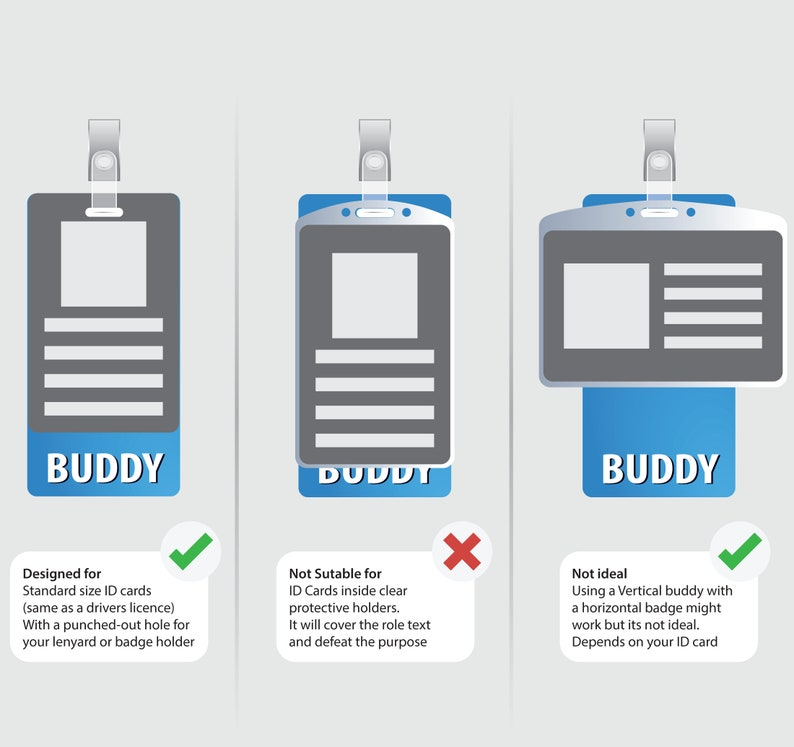 PA Badge Buddy BluePink Horizontal Heavy Duty with Medical themed Icons Identification Card by BadgeZoo