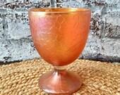 Vintage, marigold carnival glass, goblet