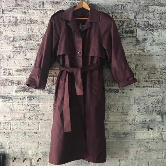Vintage 1980s, deep purple, London Fog Trench coat