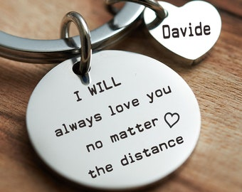 Personalized Keychain For Him Engraved Custom Handmade Key Fob Stemless Gift Boyfriend Birthday