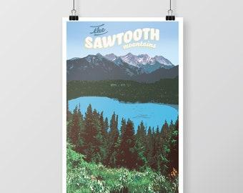 Sawtooth Mountains Poster Download, Idaho Poster, Idaho Mountains, Mountain Lake, Retro Travel Print, Idaho Wall Art, Idaho Sawtooth Poster