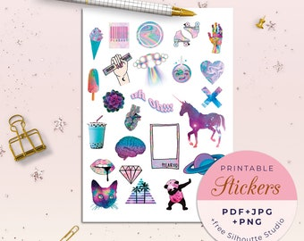 picture about Printable Stickers Tumblr named Printable tumblr planner stickers Aesthetic stickers Etsy