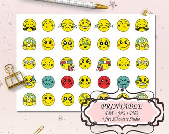 image regarding Printable Emoji Stickers titled Printable emoji deal with Etsy