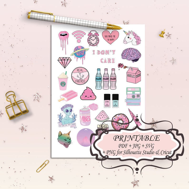 picture about Aesthetic Stickers Printable identified as Printable tumblr stickers Aesthetic stickers Holographic stickers Svg documents for cricut Daily life planner package Electronic bullet magazine stickers