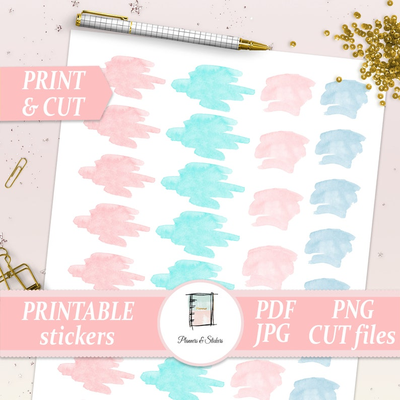 Digital Download Watercolor Pastel Swatches Stickers Printable Stationary Set Planner Decor Scrapbooks Pink and Blue Journal Sticker