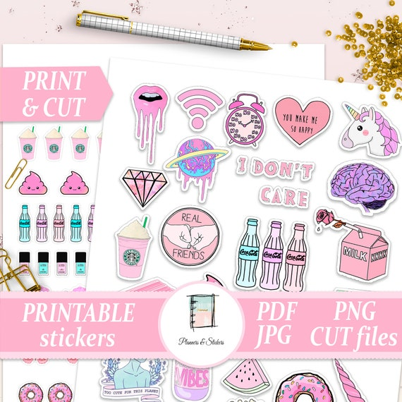 Printable Tumblr Planner Stickers Aesthetic Stickers Etsy