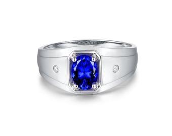 6456bddd7 Genuine AAAA Tanzanite Men Ring,oval Cut Tanzanite Ring Men In Solid 18K  White Gold Men Diamond Ring Sale