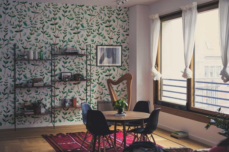 Pattern #265 Green Branch Removable Wallpaper