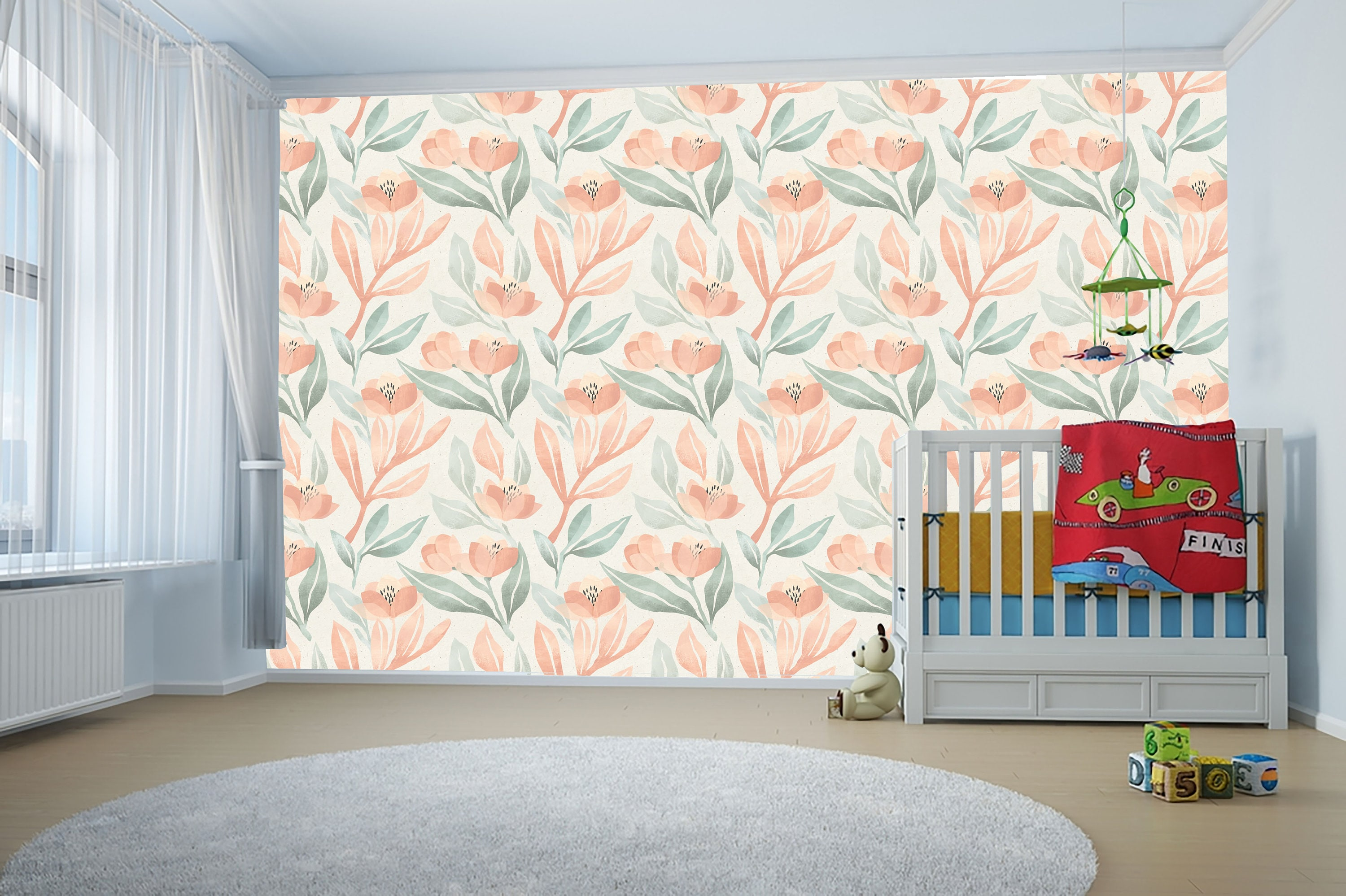 Pastel Floral Pattern For Nursery Green Home Decor Peel And Etsy