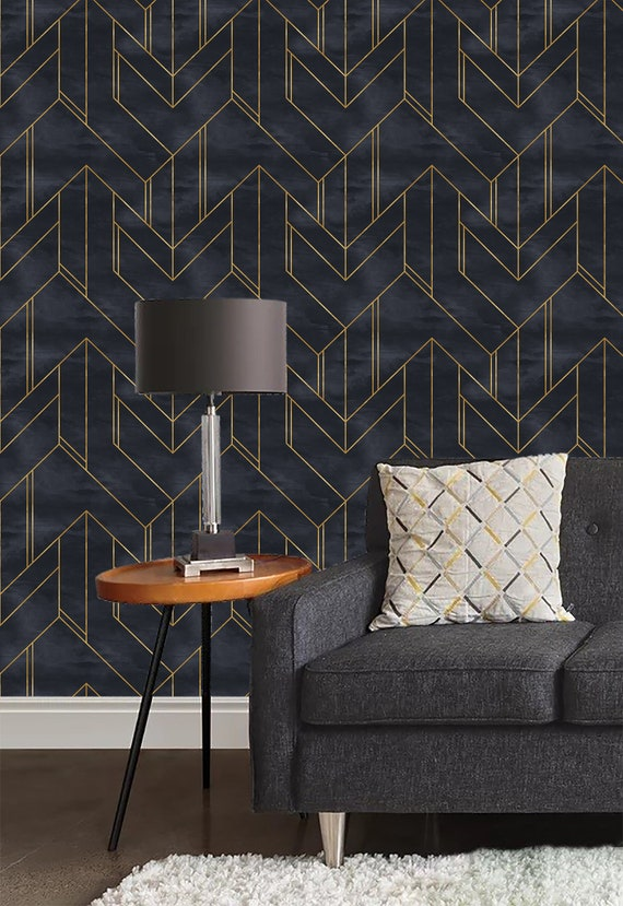 Gold And Navy Blue Geometric Wallpaper Wall Mural Minimalistic Removable Wallpaper Removable Peel And Stick Wallpaper Self Adhesive