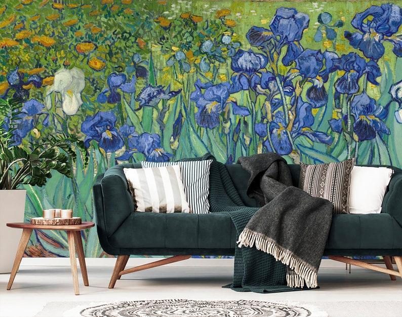 Irises By Van Gogh Wallpaper Large Iris Wallpaper Mural Wallpaper Print Van Gogh Wall Paper Floral Wallpaper Dutch Painting