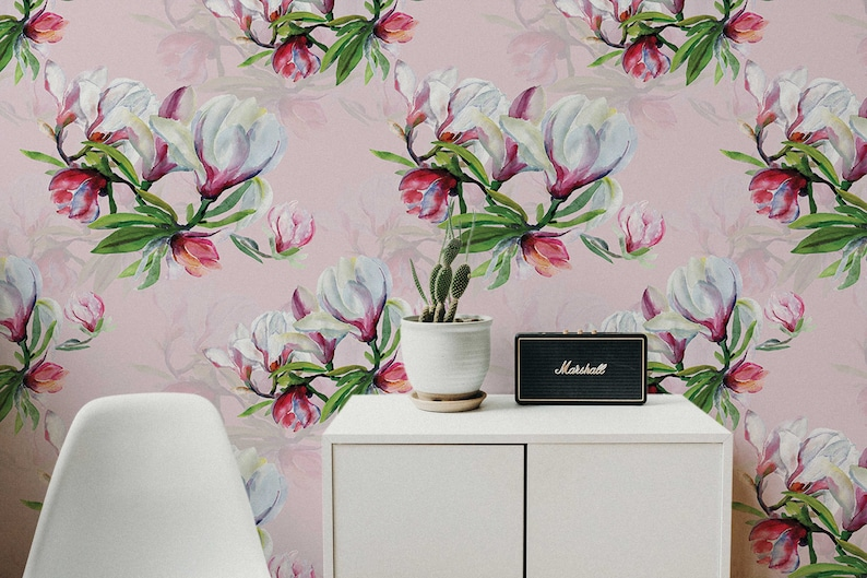 Pink Orchid Decor Removable Wallpaper Pattern 451