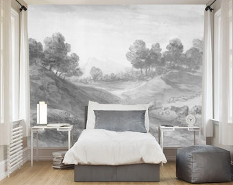 Vintage countryside painting wall mural, Reusable Wall paper, Vintage art wallpaper, Landscape mural, Fine Wall art, Monochrome wall mural
