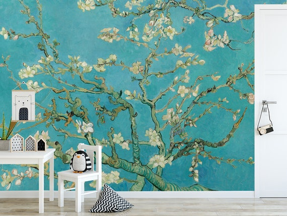 Almond Blossom By Van Gogh Wallpaper Oil Painting Flowers Wallpaper Removable Peel And Stick Wallpaper Chinoiserie Wall Mural