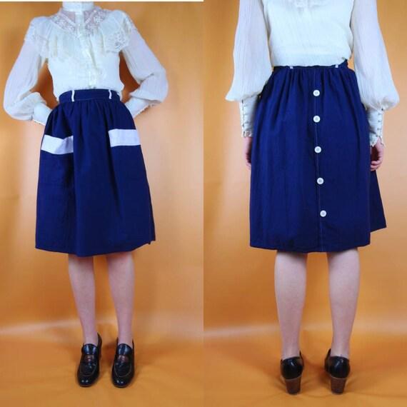 Vintage navy blue Prairie skirt