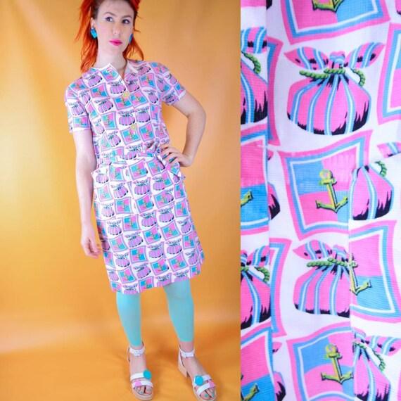 Nautical pastel 80s dress
