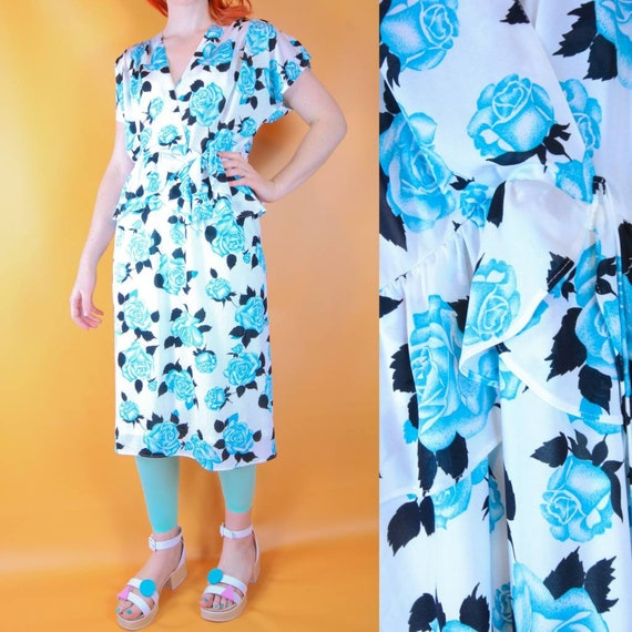 Psychedelic 80s rose print dress