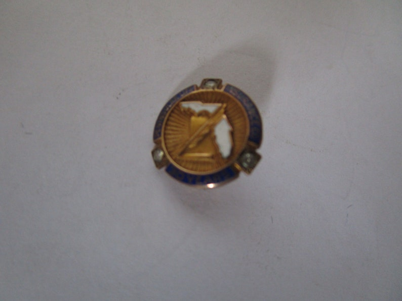 Antique 10 K Enameled Peninsular Insurance Co 30 Year Pin Florida