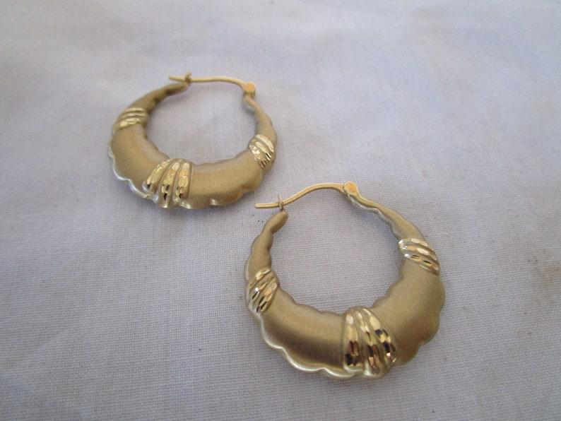 Vintage 14K Brushed Yellow Gold Fancy Hoop Pierced Earrings