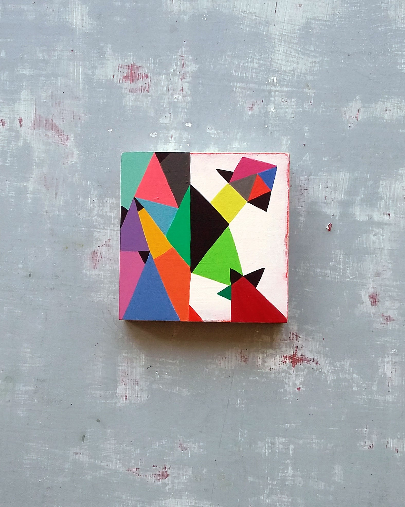 Composition_002, small abstract painting on wood - product images  of