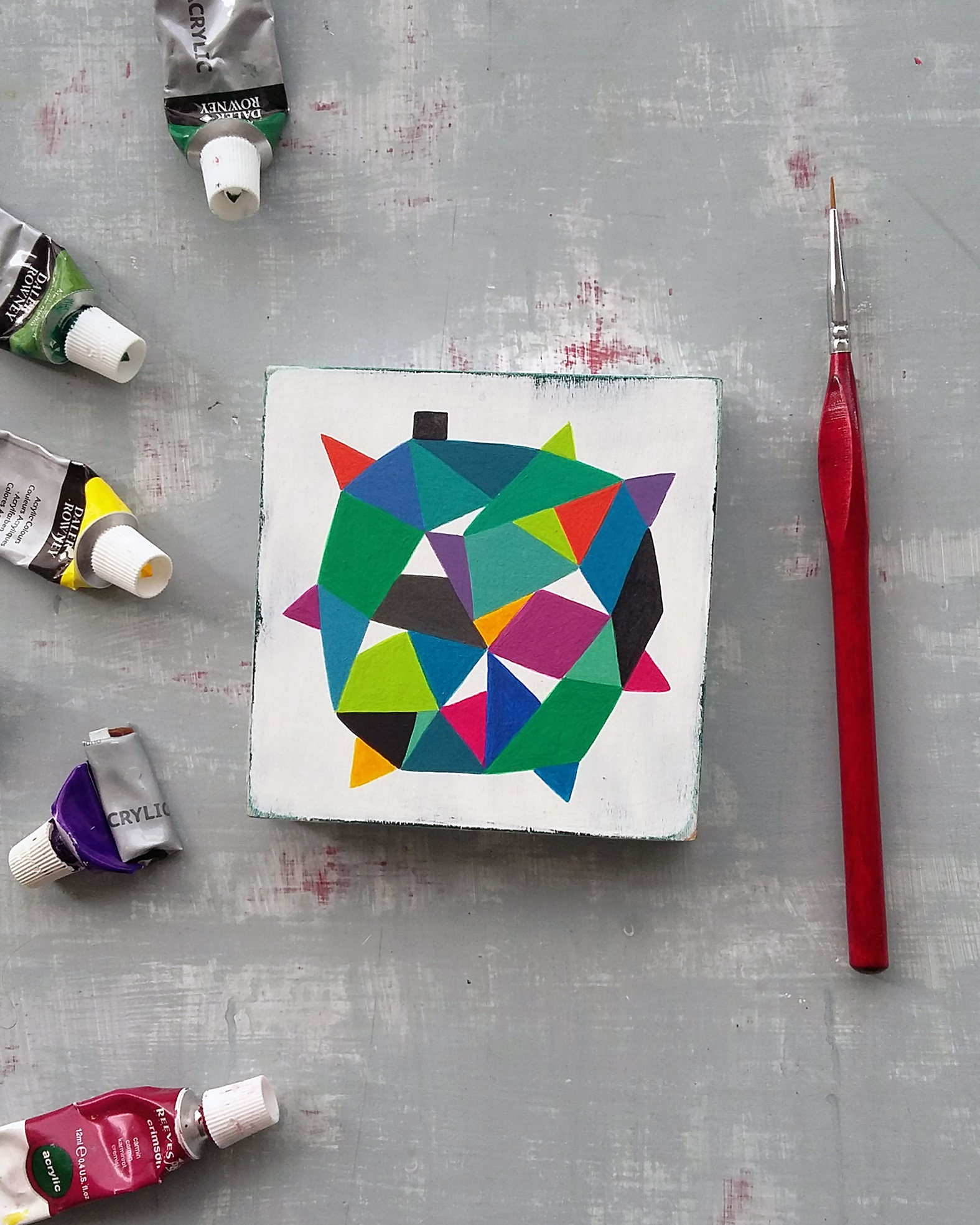 Star_004, colourful original hard edge painting - product image
