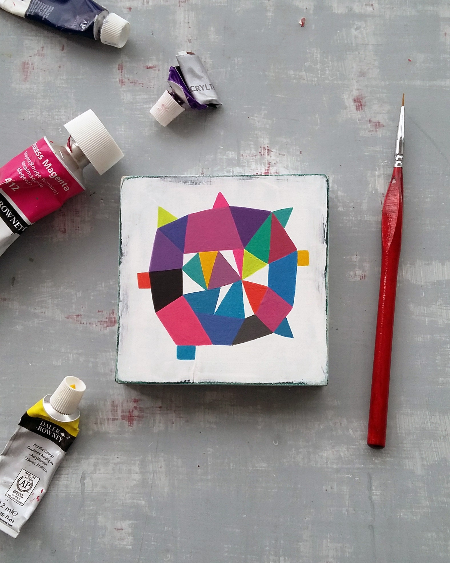 Star_005, colourful abstract painting on wood - product image
