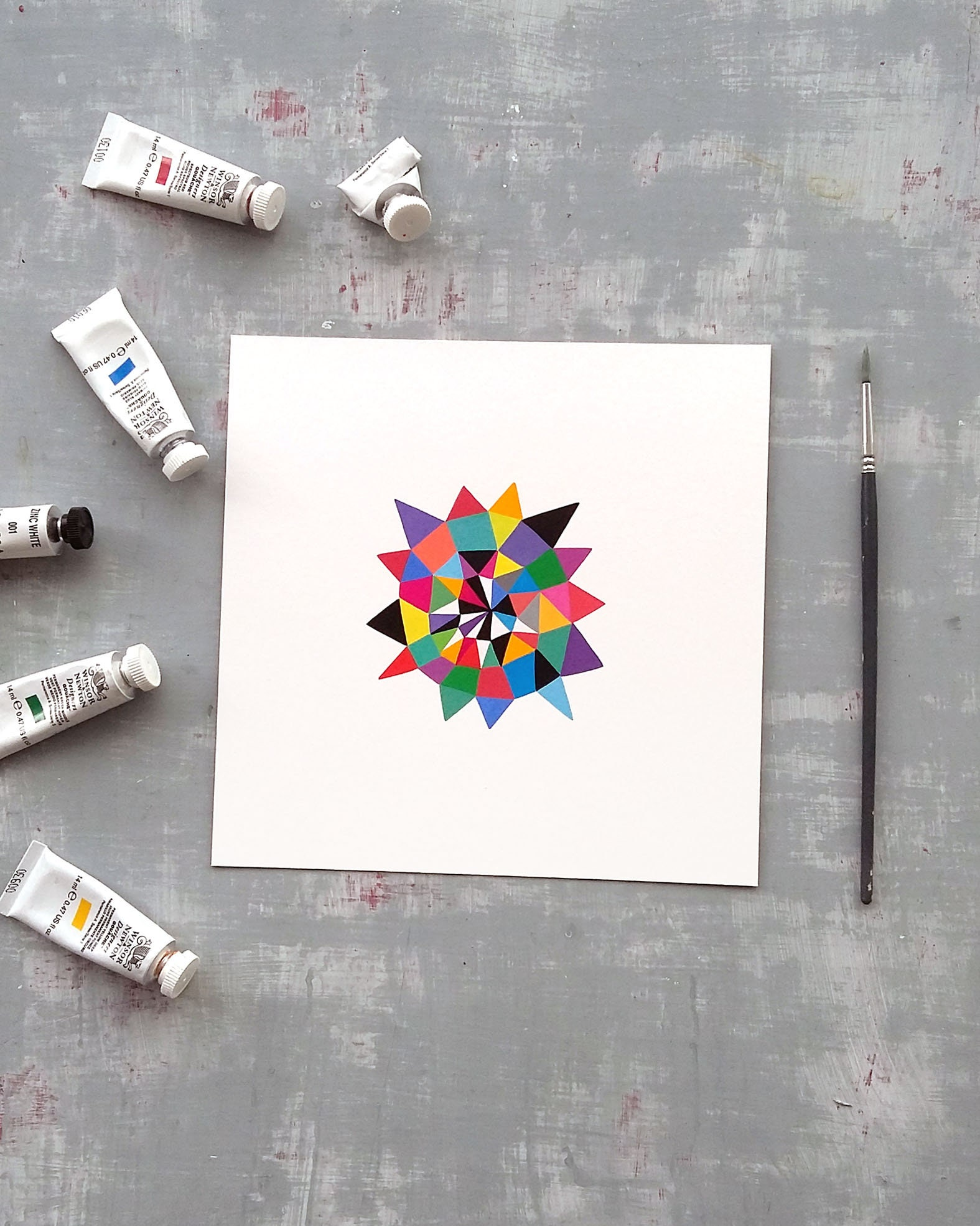Star_008, small geometric art on paper - product image