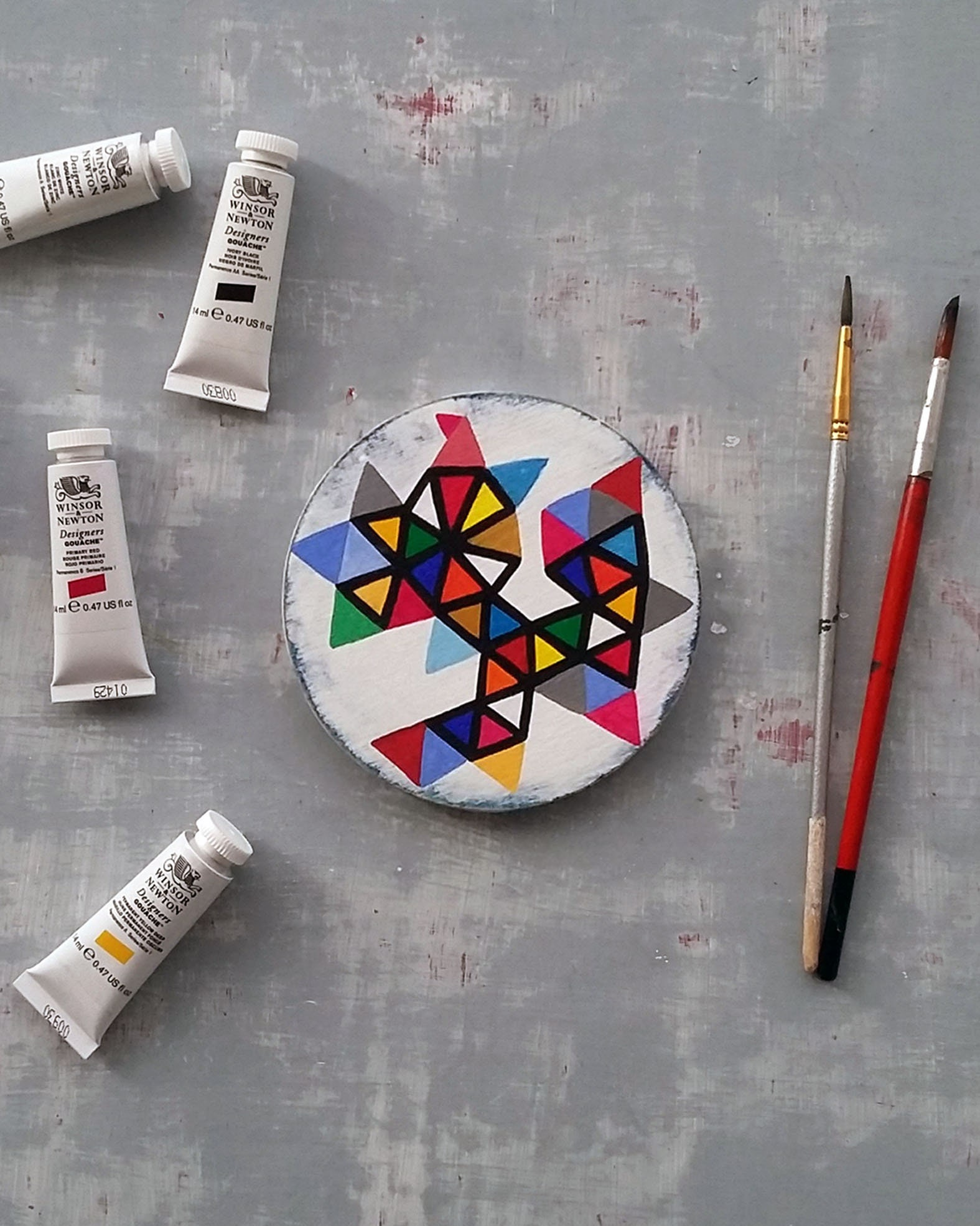 Triangles_001, geometrical miniature round painting - product image